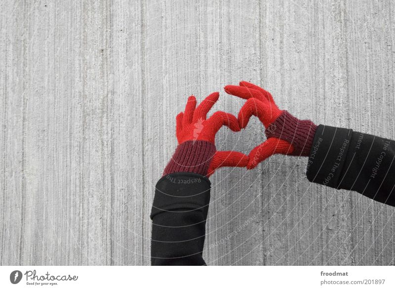 Hand Red Love Emotions Heart Fingers Gloomy Uniqueness Romance Kitsch Indicate Infatuation Young woman Lovesickness Gesture Gloves