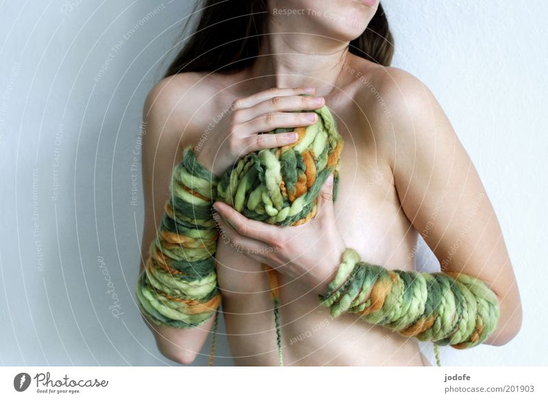 my ball of wool... Human being Feminine Young woman Youth (Young adults) Woman Adults 1 18 - 30 years Multicoloured Green Wool Ball of wool arm cuff