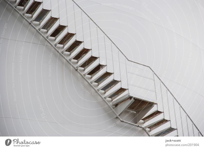 Stairs, ascender from below Industrial plant Metal steps Line Sharp-edged Simple Modern Irritation Lanes & trails Diagonal Approach to the stairs Prop Tank