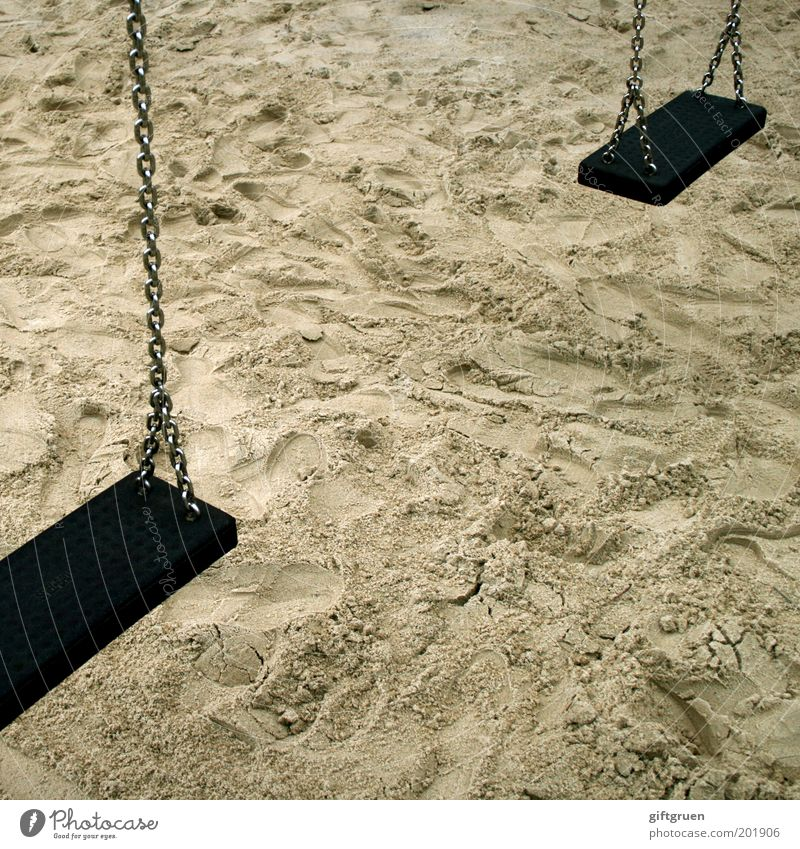 Rocked out Playing Children's game To swing Stagnating Swing Playground Sand Sandpit Chain Hang Droop In pairs Infancy Unused Colour photo Subdued colour