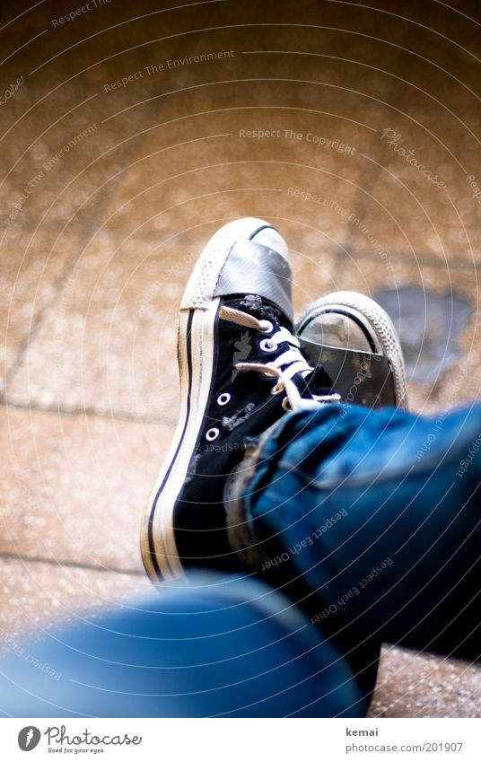 Take a break. Lifestyle Well-being Contentment Relaxation Calm Human being Feminine Adults Legs Feet 1 Ground Tile Fashion Cloth Jeans Footwear Sneakers Chucks