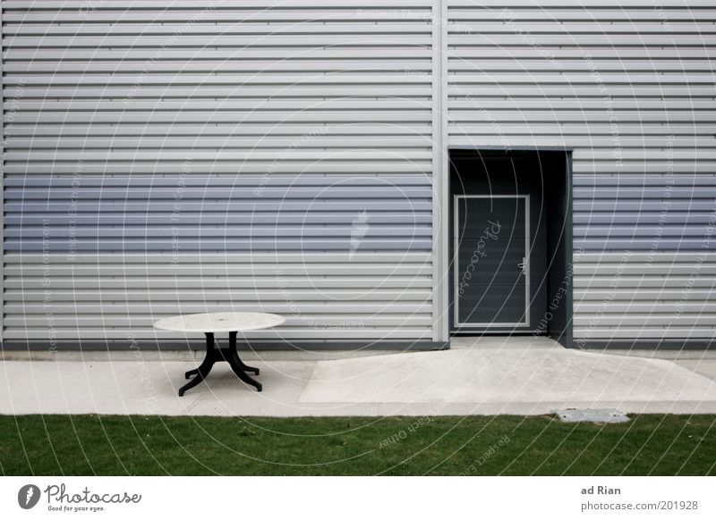 open office Table Factory Deserted Industrial plant Architecture Facade Cold Colour photo Exterior shot Central perspective Lawn Door Corrugated sheet iron