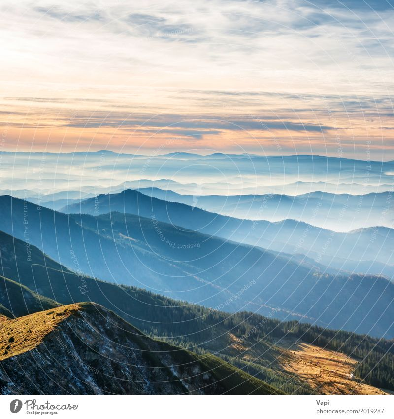 Blue mountains and hills Vacation & Travel Tourism Trip Adventure Far-off places Freedom Summer Sun Mountain Nature Landscape Sky Clouds Horizon Sunrise Sunset