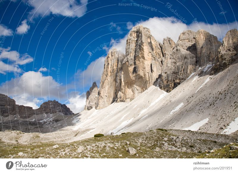 The Three Peaks Summer Mountain Nature Landscape Clouds Rock Alps Blue White Dolomites Europe High mountain region Italy Massive South Tyrol Mountain hiking