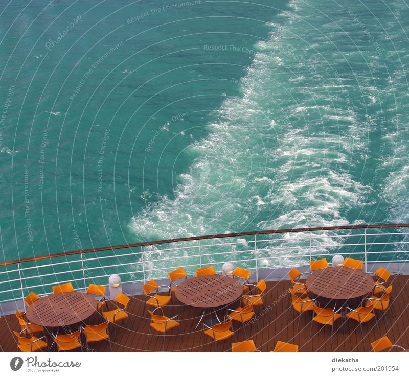 Take cover! Cruise Summer Ocean Restaurant Water North Sea Cruise liner Freedom Vacation & Travel Colour photo Exterior shot Deserted Table Chair Railing