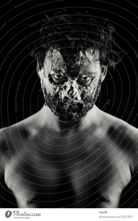Human being Man Youth (Young adults) Face Dark Naked Hair and hairstyles Head Dirty Adults Masculine Crazy Threat Portrait photograph Mask Observe