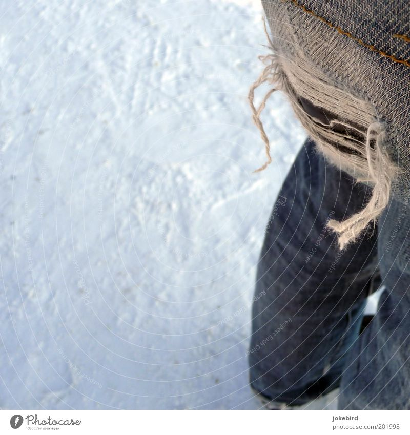 Human being White Winter Cold Snow Legs Feet Footwear Poverty Broken Cool (slang) Cloth Bottom Jeans Under Hollow