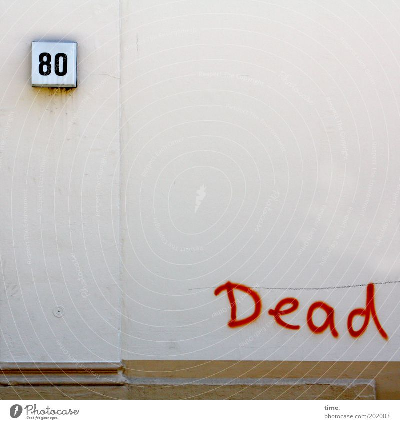 House (Residential Structure) Wall (building) Death Wall (barrier) Graffiti Digits and numbers Word Plaster House number