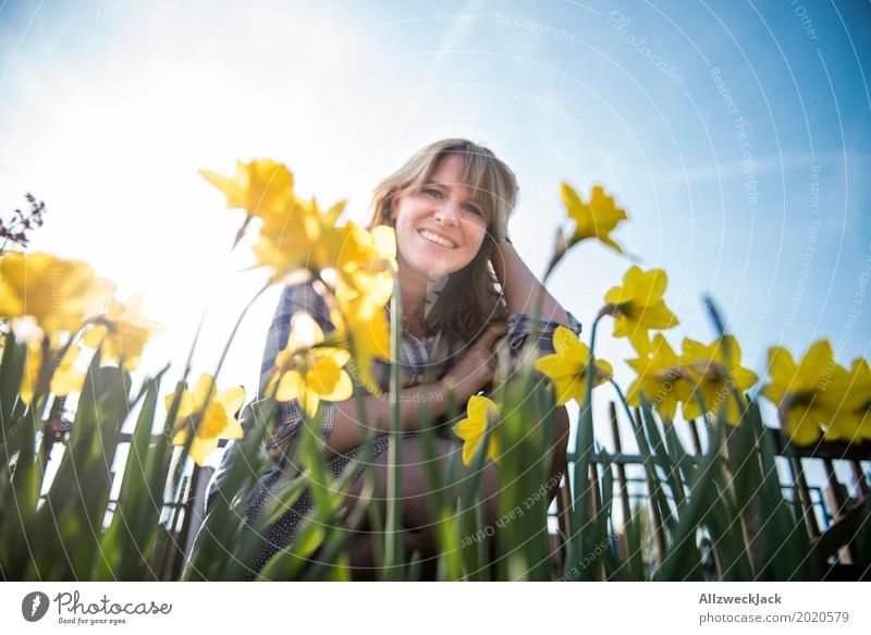 Human being Woman Youth (Young adults) Plant Blue Young woman Beautiful Sun Joy 18 - 30 years Adults Life Yellow Spring Feminine Happy