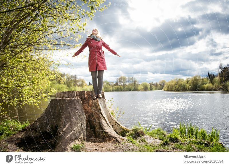 Human being Woman Nature Youth (Young adults) Young woman Sun Landscape Clouds Calm Joy 18 - 30 years Adults Life Spring Feminine Happy