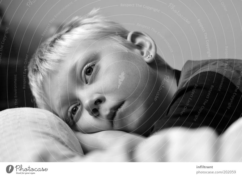 I dream Human being Child Boy (child) Infancy Head Face 1 3 - 8 years Blonde Think Relaxation Dream Sadness Natural Cute Gray Black White Serene Calm Boredom