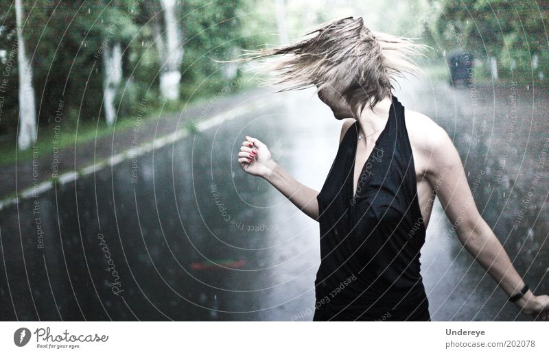Rain 1 Human being Young woman Youth (Young adults) 18 - 30 years Adults Beautiful Hair Wet Dress Drops of water Colour photo Subdued colour Exterior shot Day