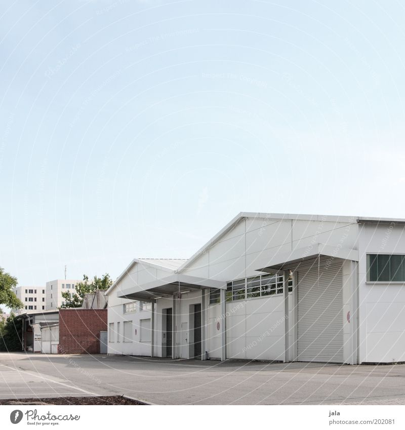 Sky White Blue House (Residential Structure) Gray Building Door Facade Industry Places Gloomy Logistics Industrial Photography Factory Gate Company