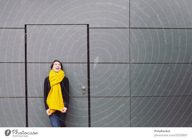 #A# Bouncer Art Esthetic Joy Friendship Joybringer Woman Scarf Winter Exterior shot Laughter Smiling Wall (building) Metal Door Car door Doorman Doorframe