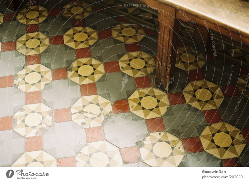 Beautiful Old Cold Gloomy Church Bench Floor covering Dry Mosaic