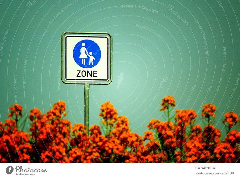 Child Nature Green Orange Bushes Walking Mother Parents Caution Road sign Pedestrian precinct Zone Street sign Lanes & trails Human being