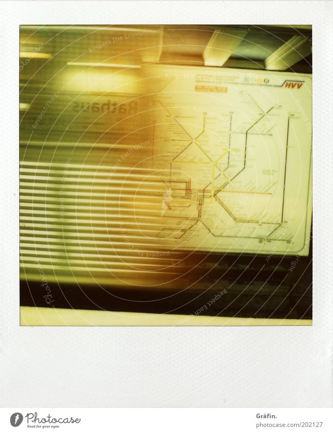 Yellow Wait Signs and labeling Hamburg Speed Characters Tunnel Underground Stress Polaroid Train station Mobility Railroad Display Driving