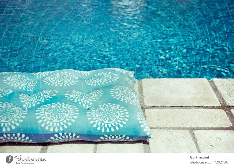 pool Summer Water Hot Swimming pool Cushion Turquoise Azure blue Wet Edge Blue Deserted Colour photo Exterior shot Pattern Structures and shapes Copy Space top
