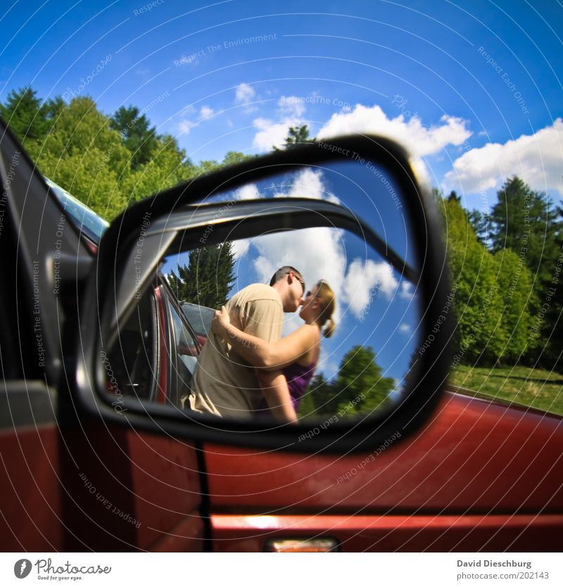 Love in the parking lot Human being Young woman Youth (Young adults) Young man Couple Partner 2 18 - 30 years Adults Clouds Spring Summer Beautiful weather Car