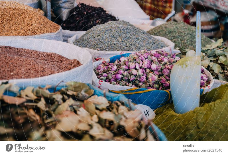 Souk Morocco Old town Pedestrian precinct Shopping Tea Rose leaves Herbs and spices Marketplace Market stall Covered market Market day Selection Versatile Heap