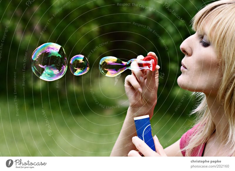 Iridescent Playing Young woman Youth (Young adults) Head 1 Human being 18 - 30 years Adults Park Blonde Beautiful Feminine Dream Creativity Ease Soap bubble