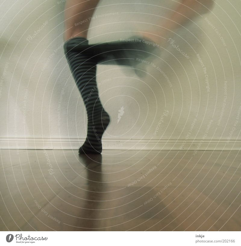 Human being Emotions Legs Feet Funny Dance Exceptional Stand Stripe Uniqueness Stress Young woman Chaos Bizarre Stockings