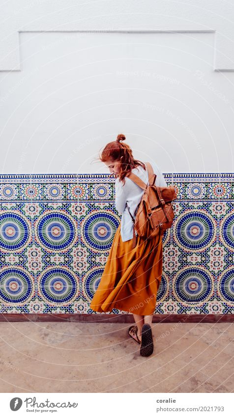 Morocco Feminine Young woman Youth (Young adults) Life 1 Human being 18 - 30 years Adults Skirt Hip & trendy Hipster University & College student Pattern