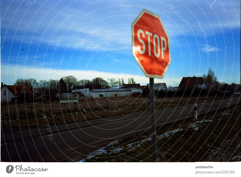 STOP Signs and labeling Road sign Stop sign Hold Bans Street Sky Clouds Winter Information Typography Blue Village Outskirts
