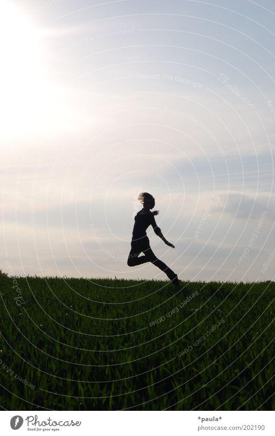 horizon dancer Joy Life Body 1 Human being Landscape Sky Sun Meadow Field Movement To enjoy Jump Illuminate Dance Dream Esthetic Athletic Free Happiness