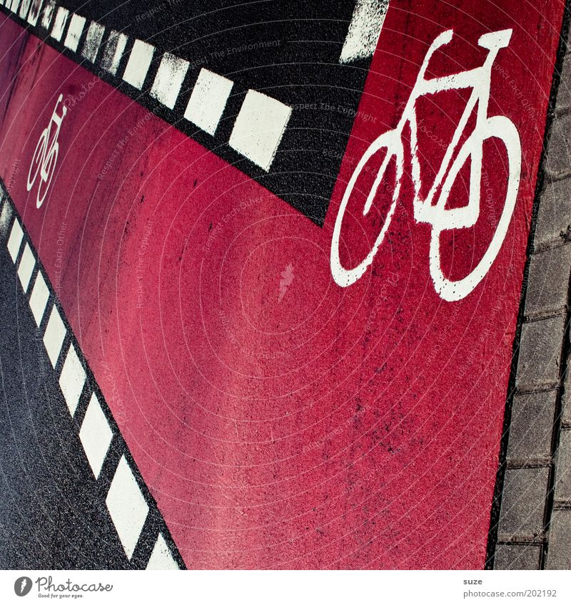 city bike Bicycle Town Transport Road traffic Street Sign Characters Signs and labeling Road sign Line Stripe Pink Black Cycle path Asphalt Graph Traffic lane