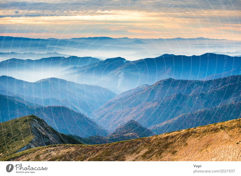 Blue mountains and hills at sunset Beautiful Vacation & Travel Tourism Adventure Far-off places Freedom Sun Mountain Nature Landscape Sky Clouds Horizon Sunrise