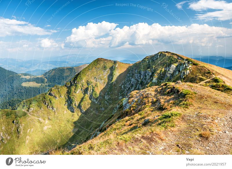 Mountain range with dry yellow grass Vacation & Travel Tourism Trip Summer Hiking Nature Landscape Sky Clouds Horizon Sunlight Spring Autumn Beautiful weather