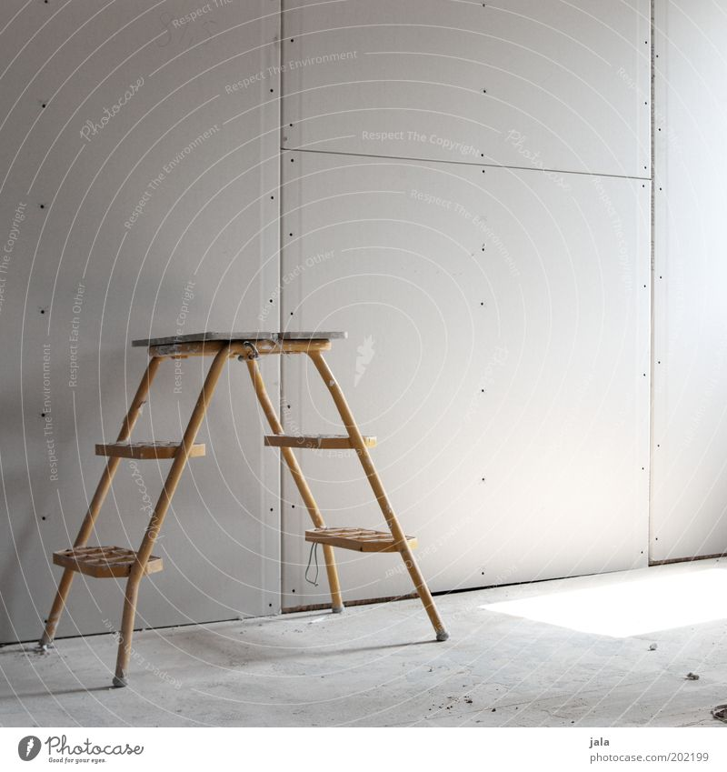 Yellow Wall (building) Gray Room Construction site Ladder Build Redecorate Shaft of light Image type and genre Modernization Stepladder