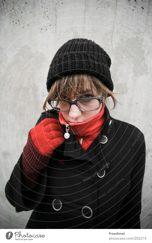 Woman Human being Youth (Young adults) Red Winter Cold Autumn Feminine Warmth Fashion Adults Clothing Cool (slang) Eyeglasses Cap Brunette
