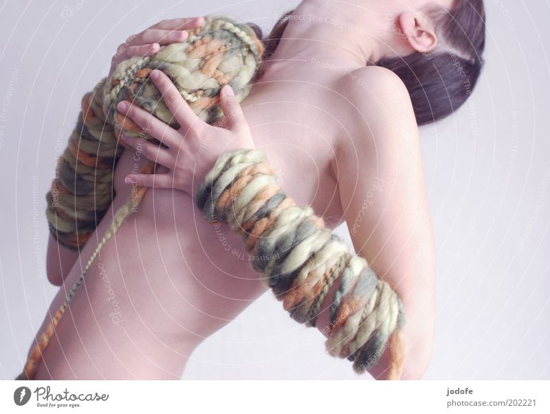 Woman Human being Hand Youth (Young adults) Nude photography Green Eroticism Naked Feminine Body Skin Adults Arm To hold on Side Sewing thread