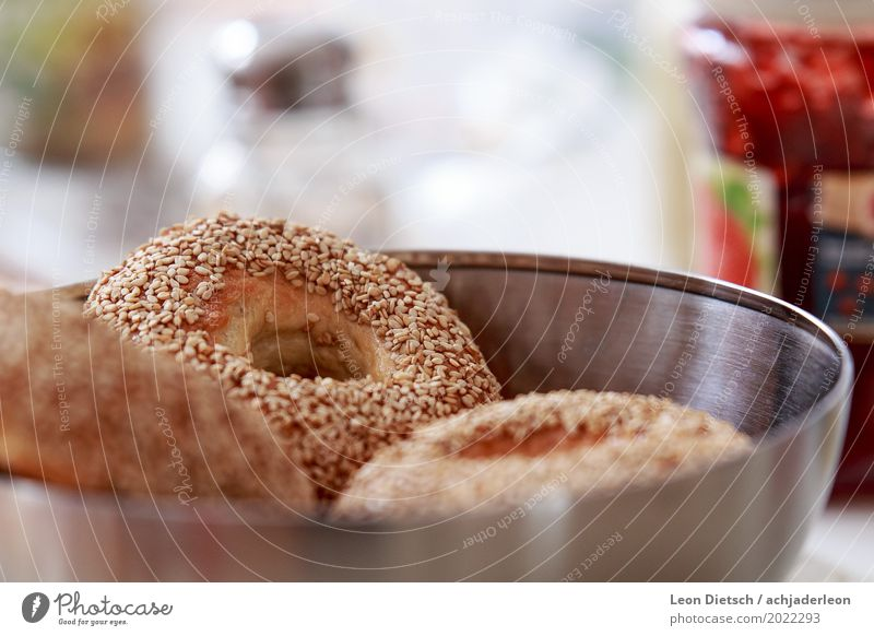 Too much sesame? Food Dough Baked goods Bread Roll Bagel Breakfast Bowl Fragrance Bright Warmth Brown Gray Red Silver White Metal Sesame Colour photo
