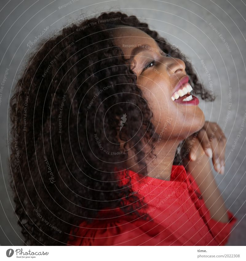 Human being Woman Beautiful Red Relaxation Adults Life Wall (building) Feminine Laughter Wall (barrier) Contentment Happiness Joie de vivre (Vitality)