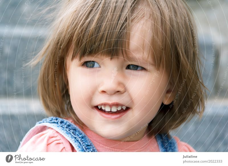 Cute Caucasian girl with short hair Child Baby Woman Adults 1 - 3 years Toddler Blonde Smiling White kid European one two three Lady Horizontal Colour photo