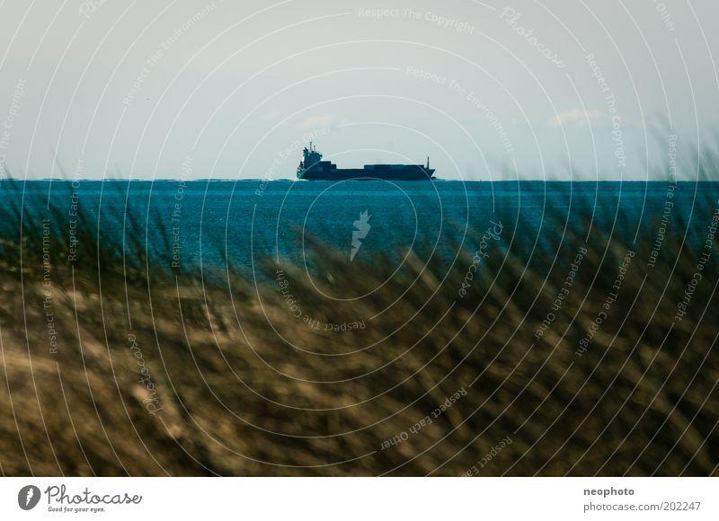 Inland navigation #1 Beach dune Dune Oil tanker Health Spa Beach mat Tourist Bay watch Ocean North Sea Blue Sky Copy Space top Exterior shot Sun Watercraft
