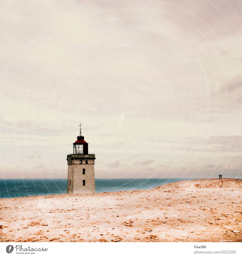 Lighthouse Rubjerg Knude Architecture Landscape Sand Air Water Horizon Summer Climate change Wind Lake North Sea Stone Threat Blue Yellow Gray White Moody