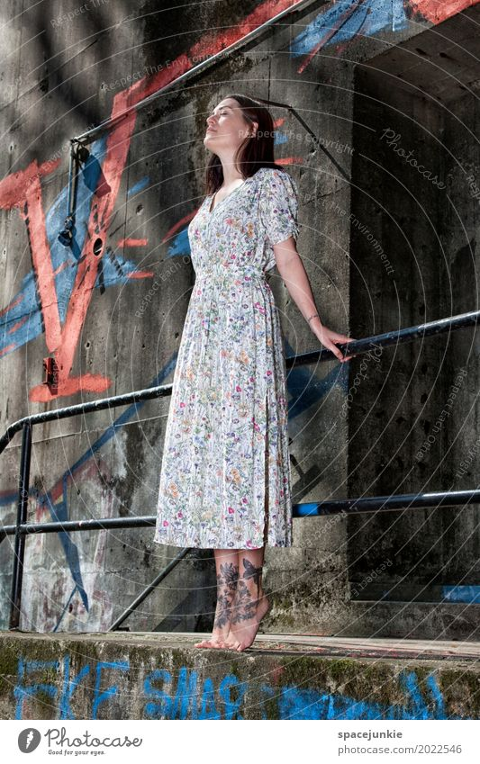 The girl in the dress (3) Human being Feminine Young woman Youth (Young adults) Woman Adults 1 18 - 30 years Wall (barrier) Wall (building) Stairs Facade