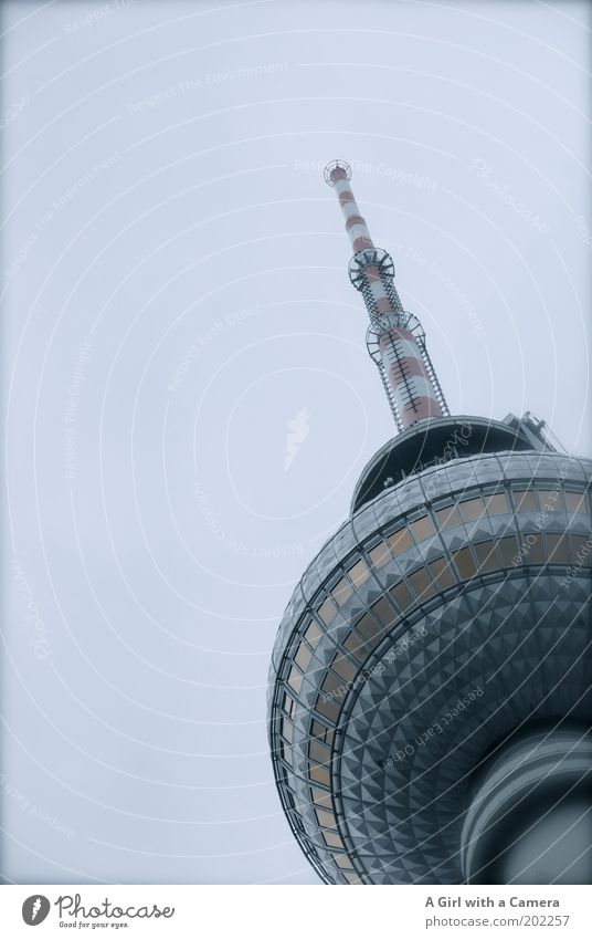 A high for Berlin Transmitting station Radio waves Antenna telespargel Sky Clouds Bad weather Capital city Tower Manmade structures Architecture