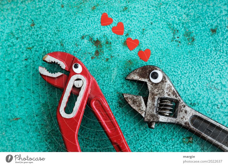 Love is... rejection. Profession Craftsperson Workplace Construction site Services Craft (trade) Tool Scissors Technology Red Black Turquoise Love of animals