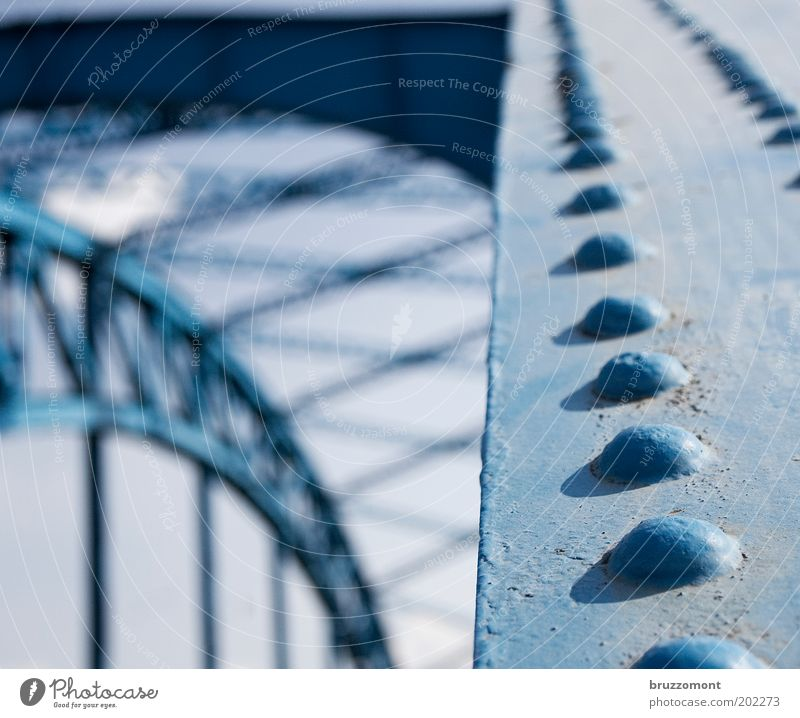 All rivets! Duisburg Bridge Manmade structures Transport Traffic infrastructure Metal Old Historic Retro Blue Colour photo Subdued colour Exterior shot Detail