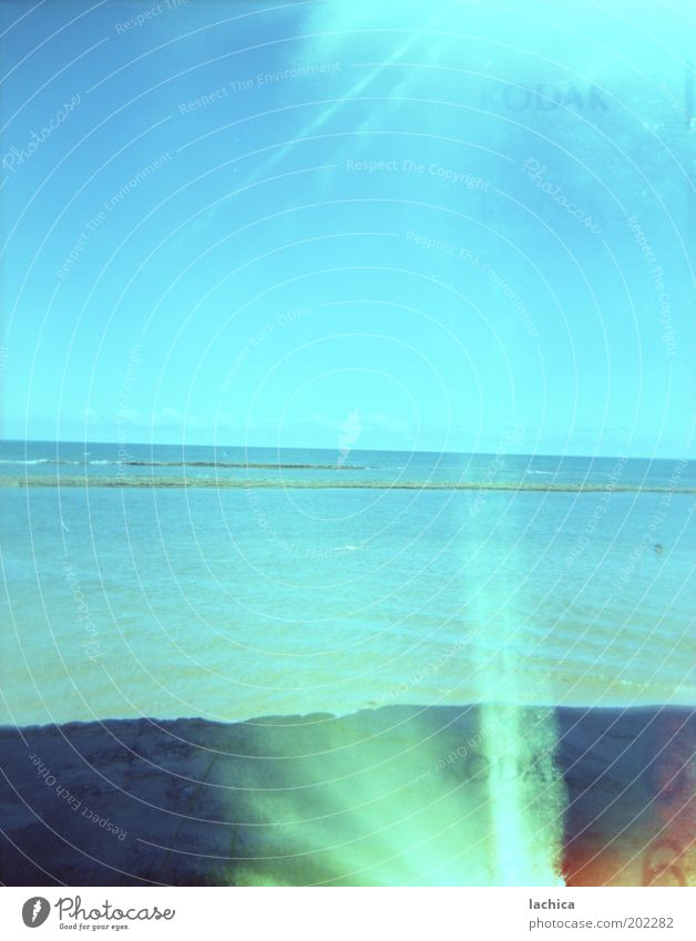 Sky Ocean Summer Beach Vacation & Travel Relaxation Warmth Landscape Coast Weather Horizon Rock Bay Beautiful weather Double exposure Light