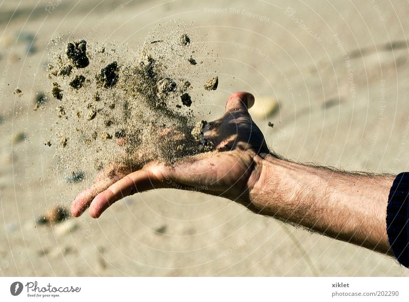 sand Arm Hand Fingers 1 Human being Sand Water Summer Coast Beach Ocean Playing Free Natural Yellow Power Determination Relaxation Stress Colour photo