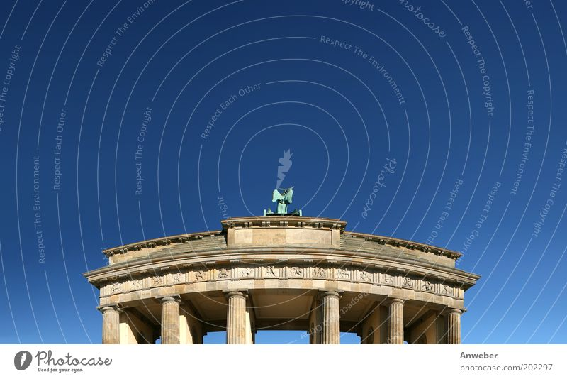 Brandenburg Gate Vacation & Travel Tourism Sightseeing City trip Sculpture Culture Sky Cloudless sky Beautiful weather Berlin Downtown Berlin Germany Europe