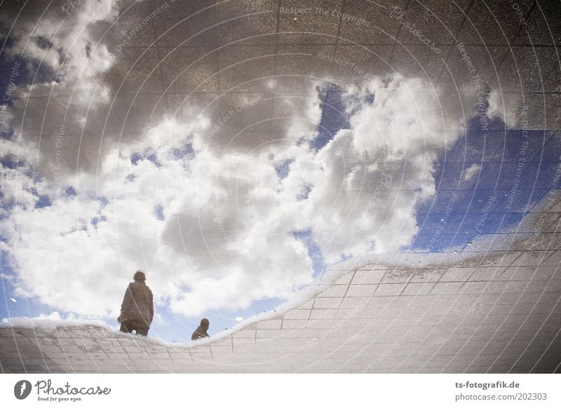 Human being Nature Sky White Blue Clouds Street Gray Dream Lanes & trails Weather Wet Earth Future Footpath Bizarre