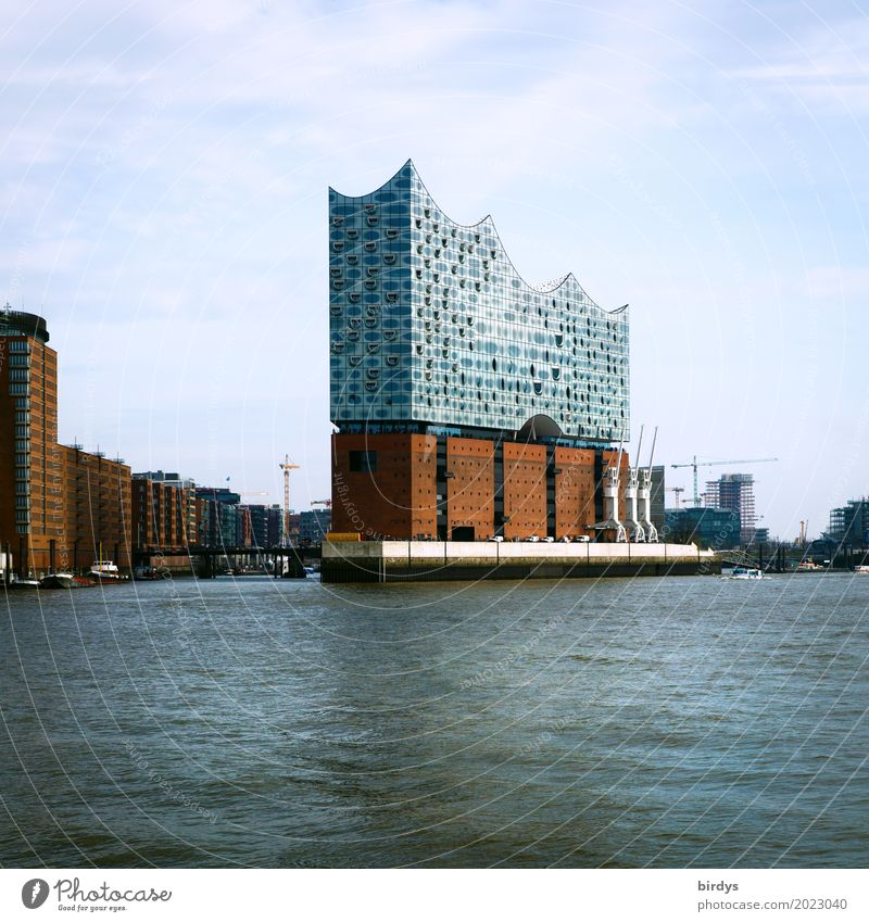 tourist magnet Tourism City trip Architecture Culture Music Water Sky River Elbe Port of Hamburg Tourist Attraction Landmark Elbe Philharmonic Hall