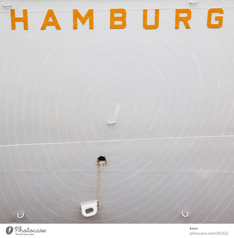 White Vacation & Travel Yellow Metal Hamburg Facade Logistics Characters Simple Harbour Navigation Watercraft Means of transport City trip Container ship